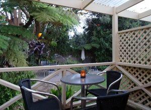 Decked patios overlook gardens