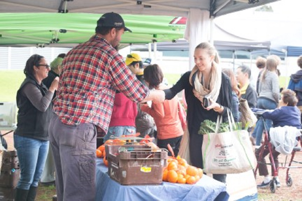 Farmers market with fresh local produce each Saturday